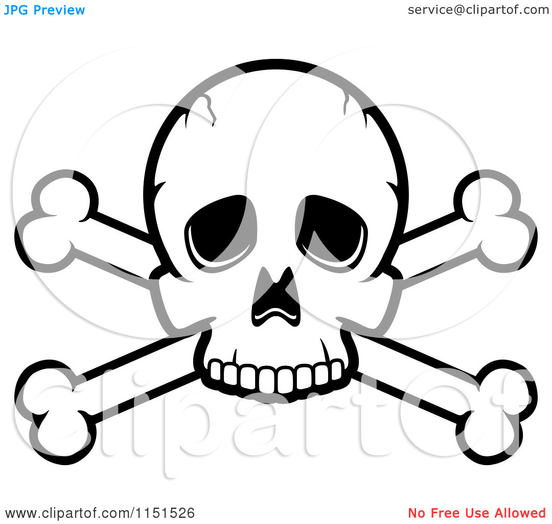 Cartoon Clipart Of A Black And White Skull and Crossed Bones.