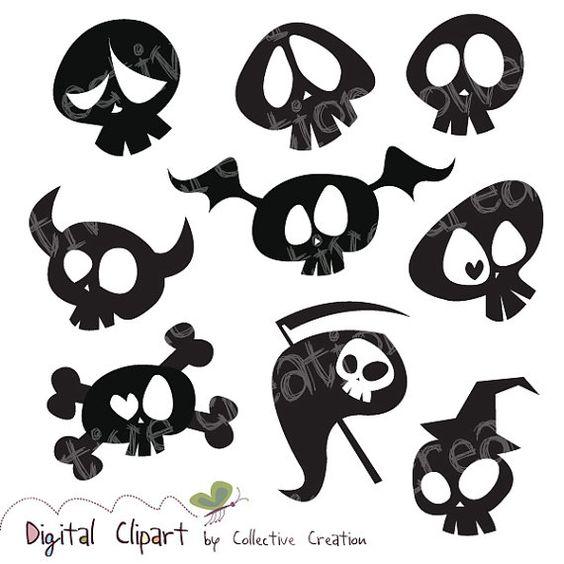 Cute Cartoon Skull Silhouette Clipart Digital Clip Art.