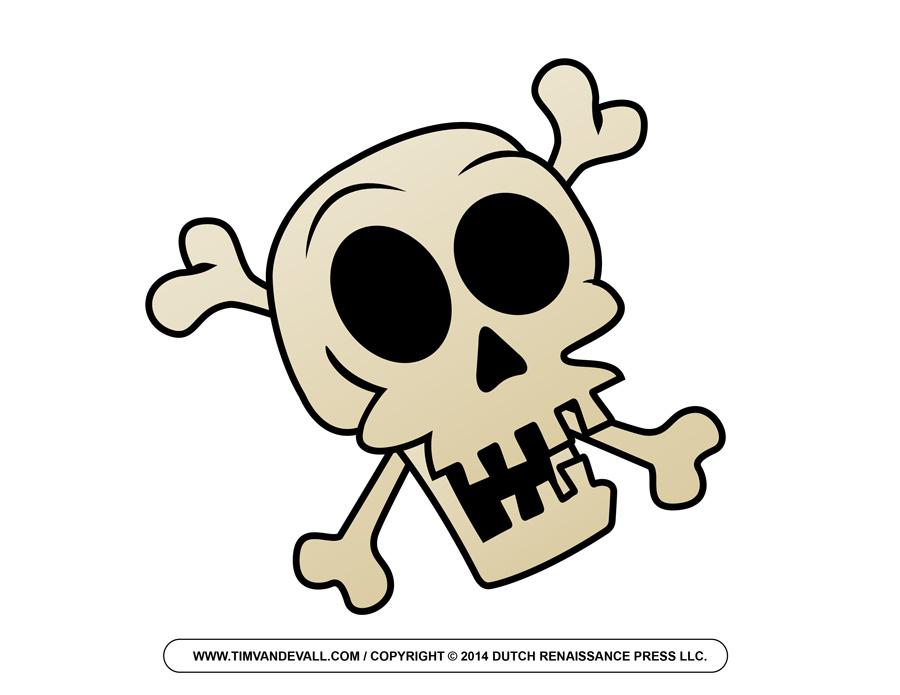 Cartoon skull and crossbones clip art.