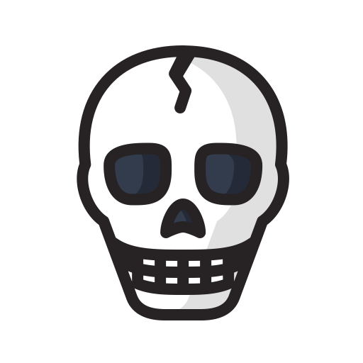 Danger, dead, death, halloween, scary, skeleton, skull icon.