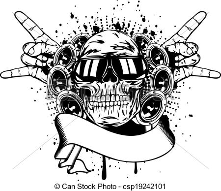 Vector Clipart of skull in sunglasses and hand gesture rock.