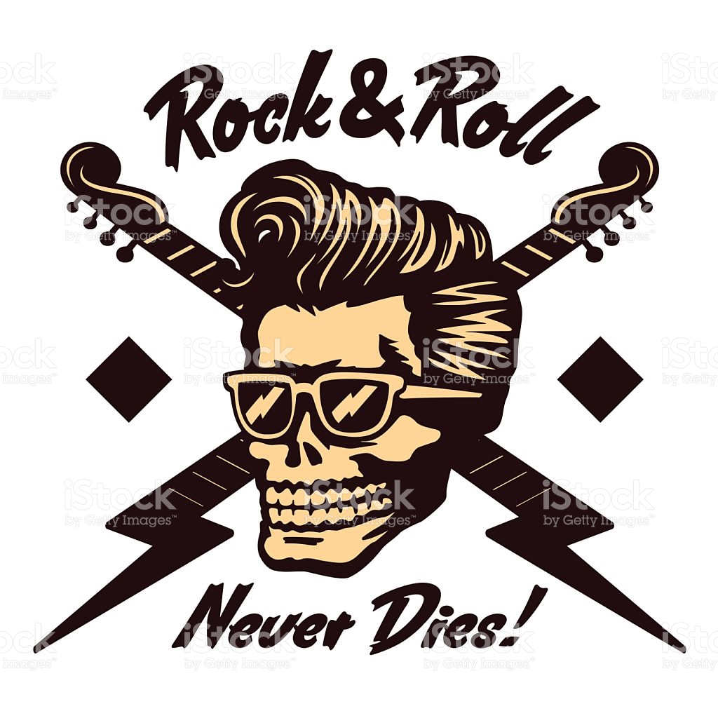 Rocknroll Skull Face With Rockabilly Pompadour Haircut And.