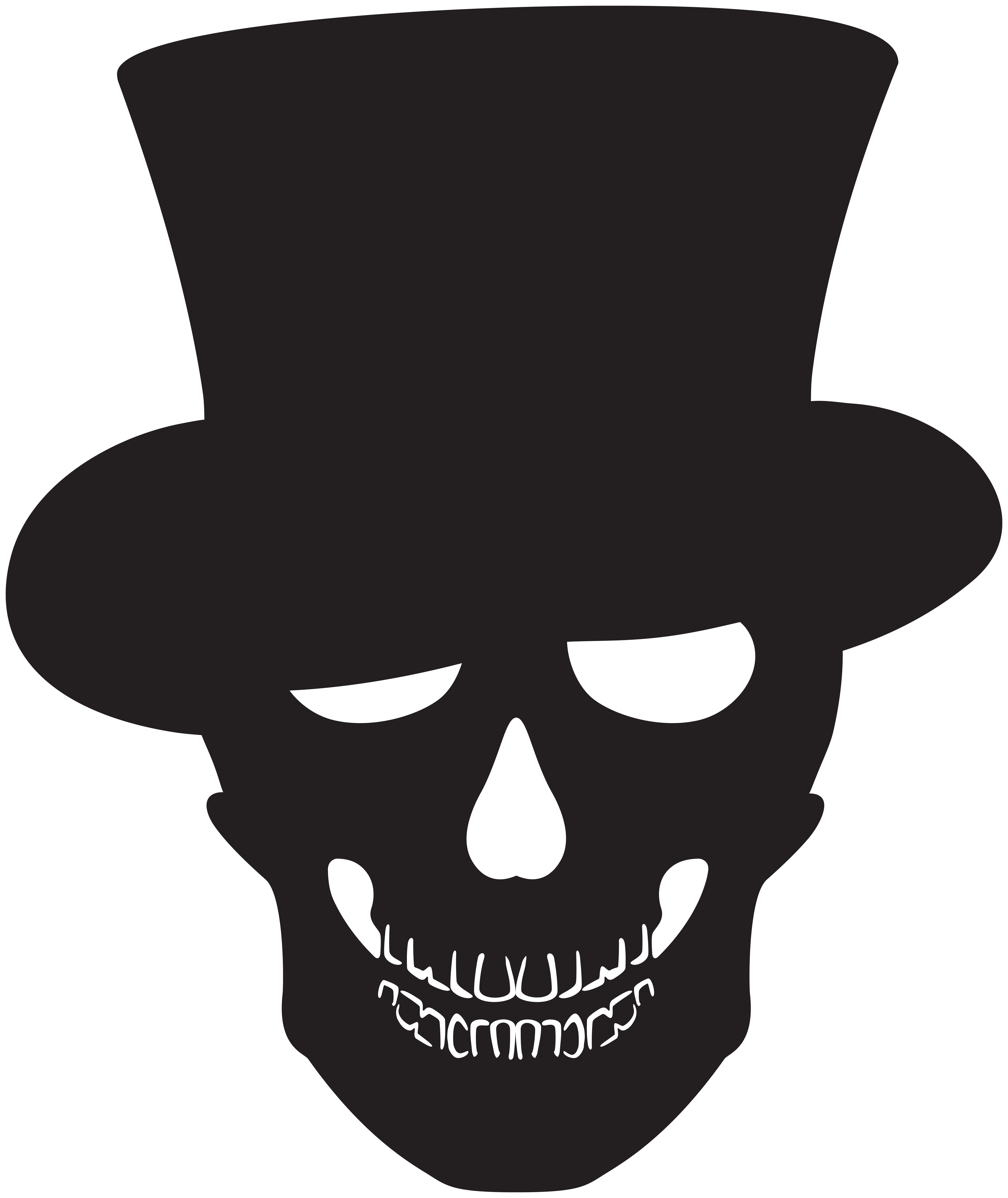 Halloween Skull Silhouette PNG Clip Art.