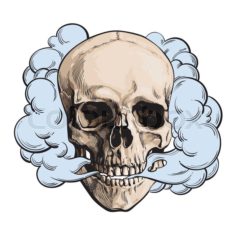 Smoking Skull Clipart.