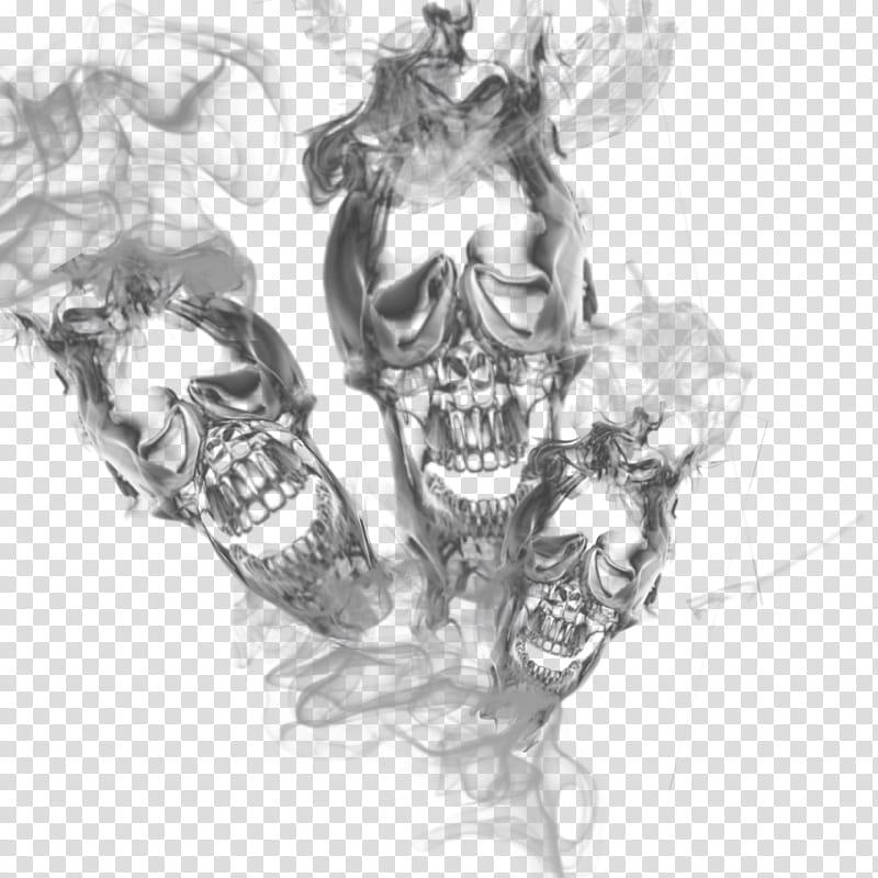 Triple skull smoke transparant , three skulls illustration.