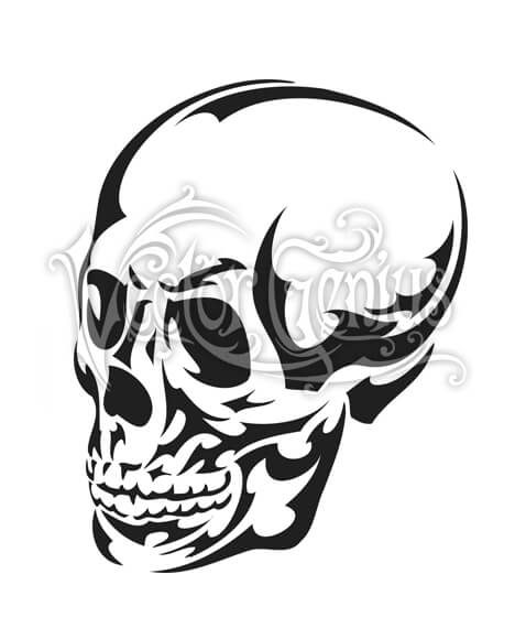 Tribal Skull Tattoo Skeleton Clip Art.