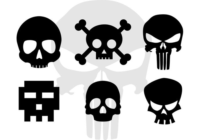 Skull Vector Cartoonish Skull Silhouettes.
