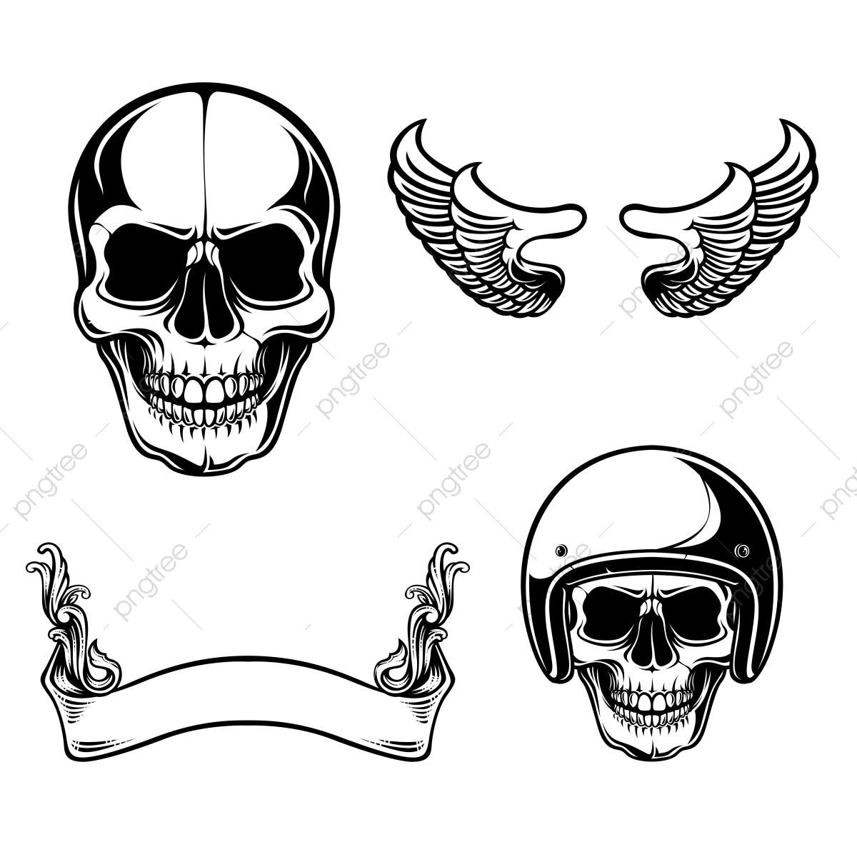 Set Of Skull Vector, Skull, Vintage, Ribbon PNG and Vector.