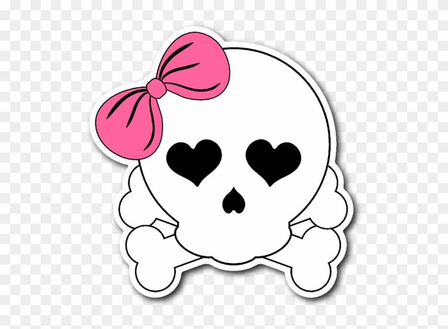Girlie Skull With Pink Bow 3\
