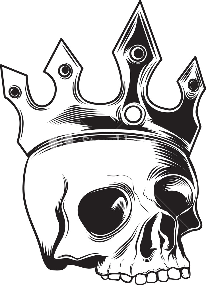 Skull Vector Element With Crown Royalty.