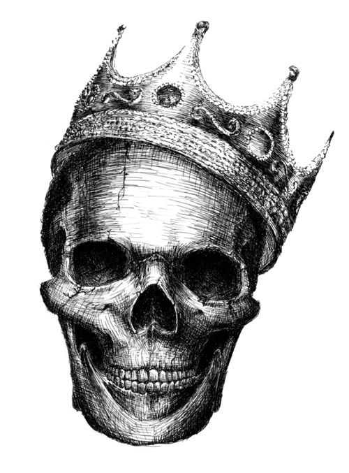 drawing of skull with crown.