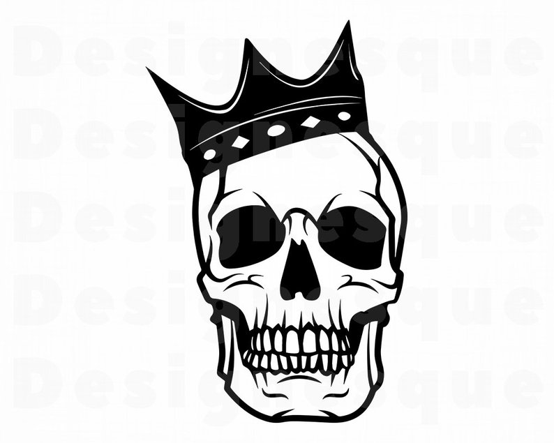 Skull With Crown Drawing.