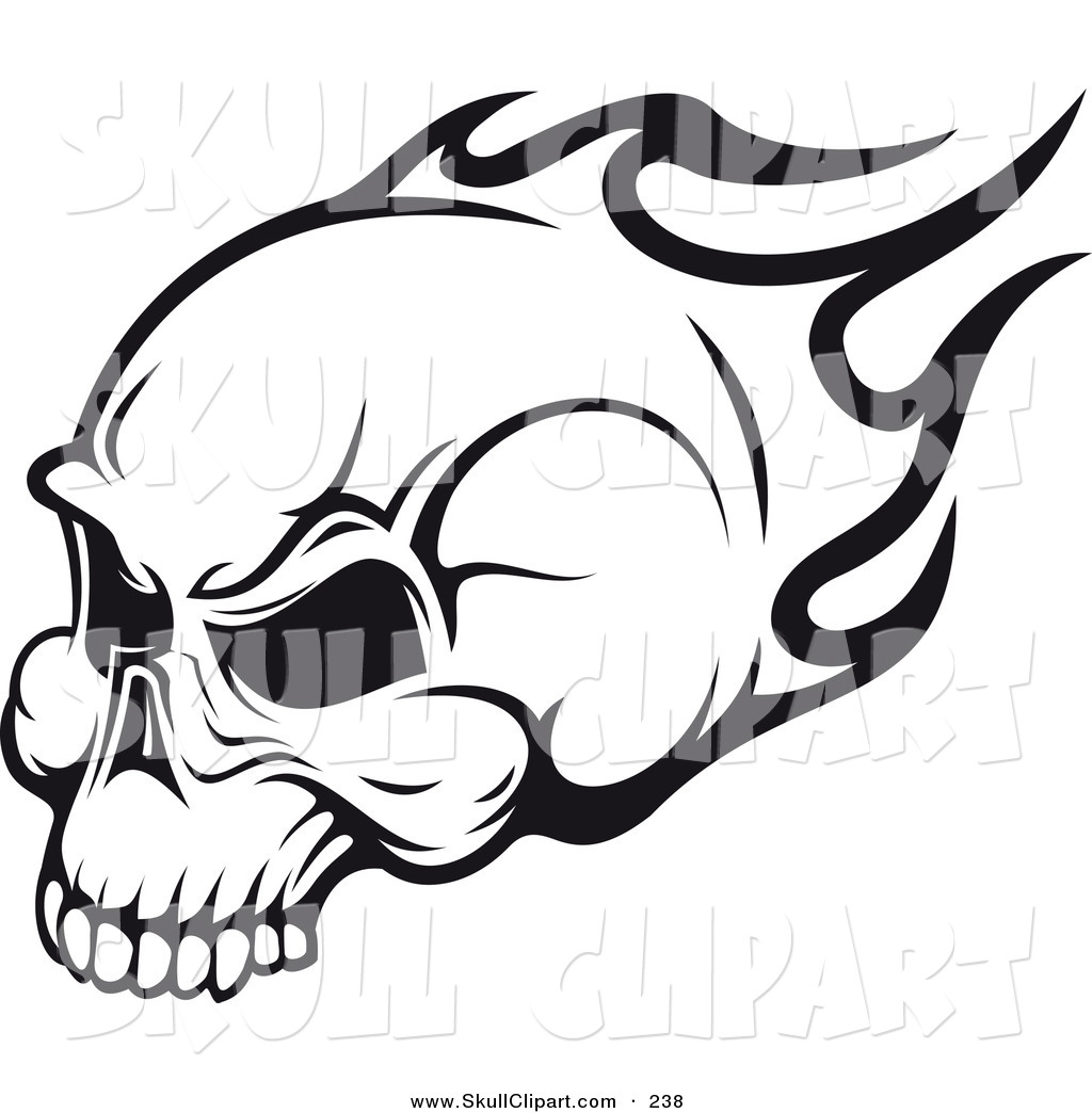 Skull And Flames Clipart.
