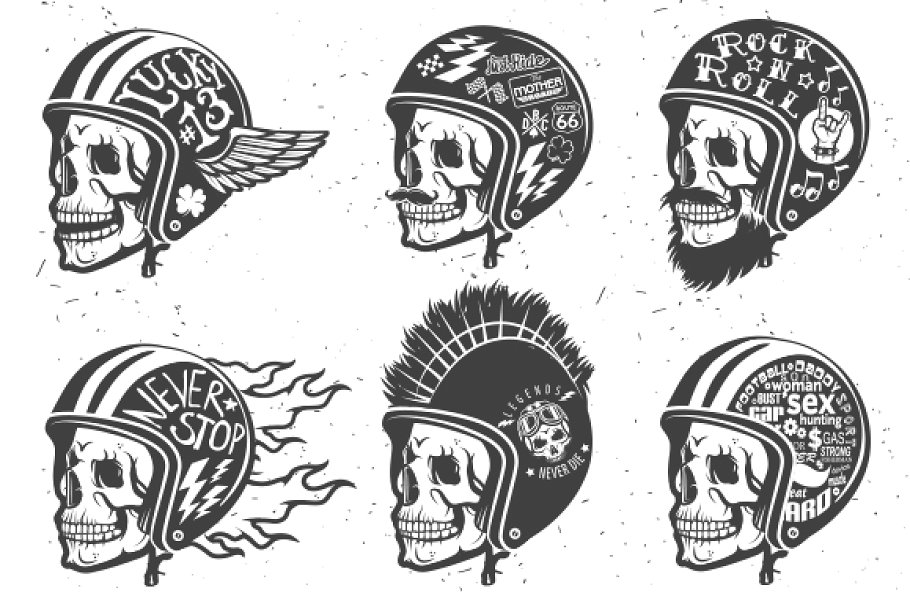 Motorcycle handmade drawing helmets.