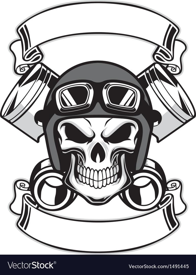 Skull wearing retro motorbike helmet.