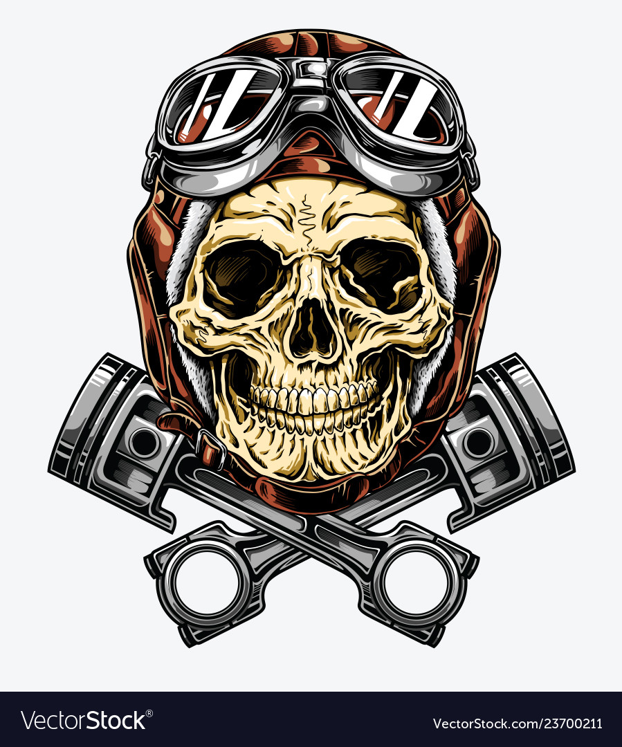 Motorcycle skull with helmet and goggles.