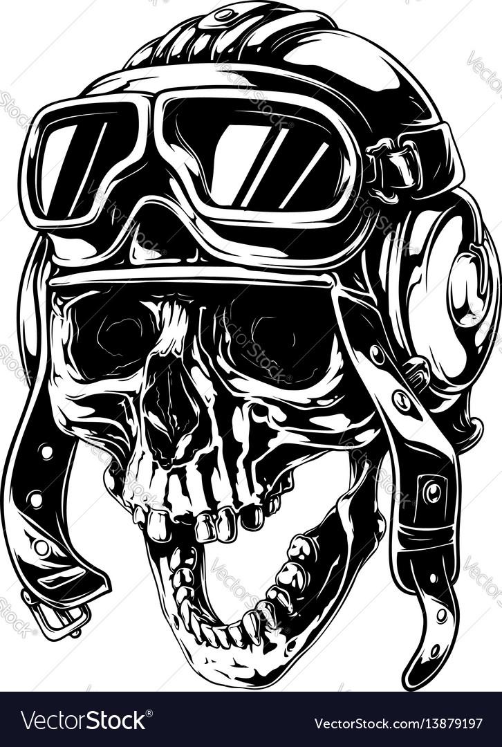 Crazy smiling old human skull in aviator helmet.