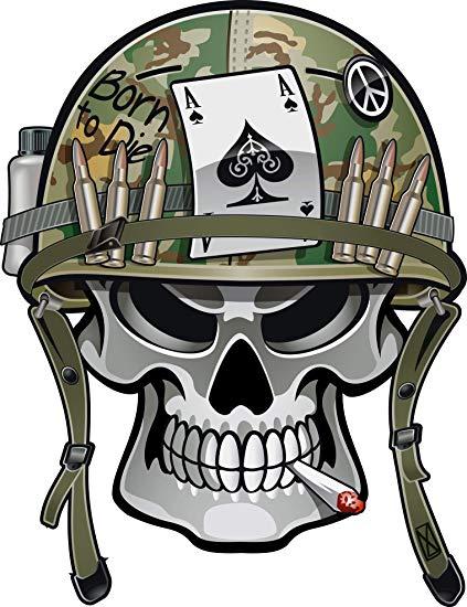 Amazon.com: Simple Military Soldier Skull with War Helmet.