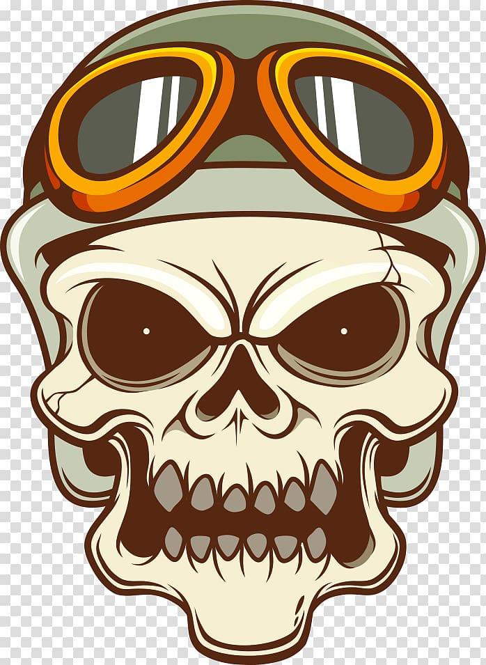 Human skull with helmet illustration, Motorcycle helmet.