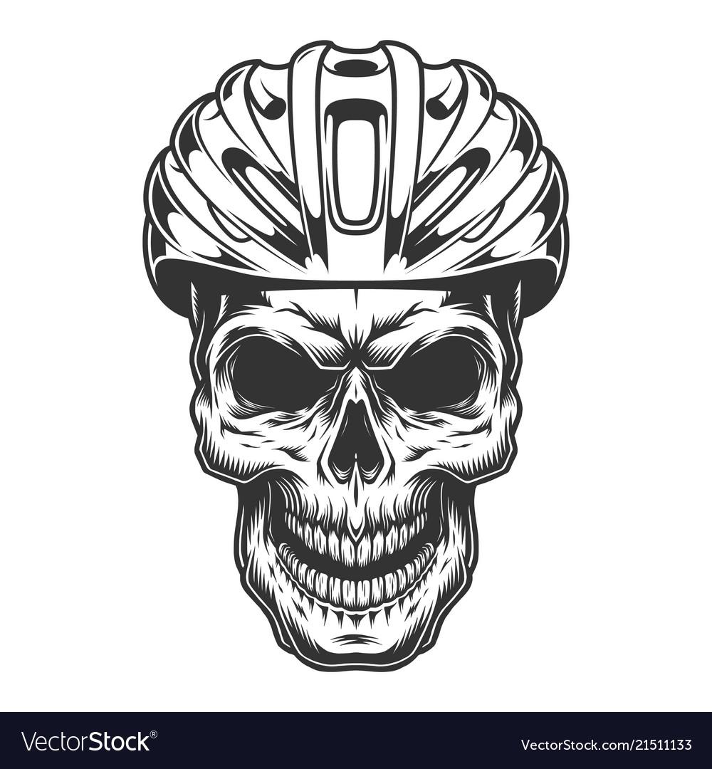 Skull in the bicycle helmet.