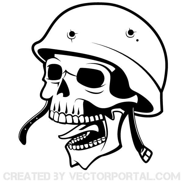 Vector Soldier Skull with Helmet.