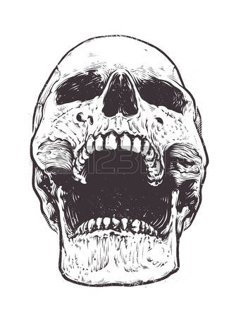 skull with open mouth clipart #8