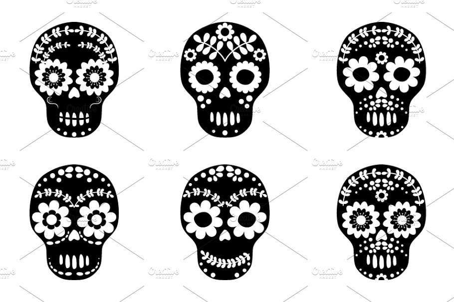 Black and white floral skull clipart.