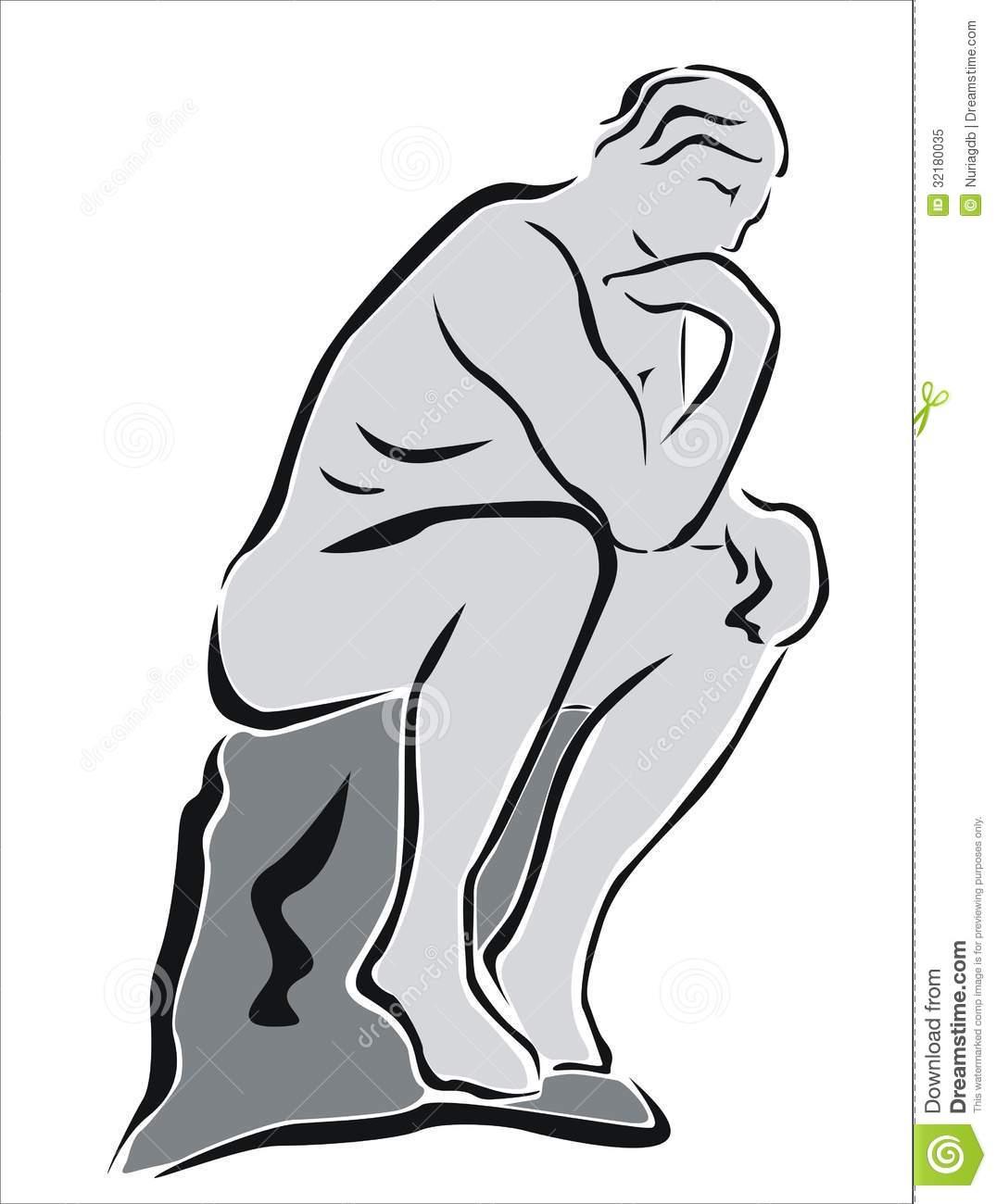 Thinking man sculpture clipart.