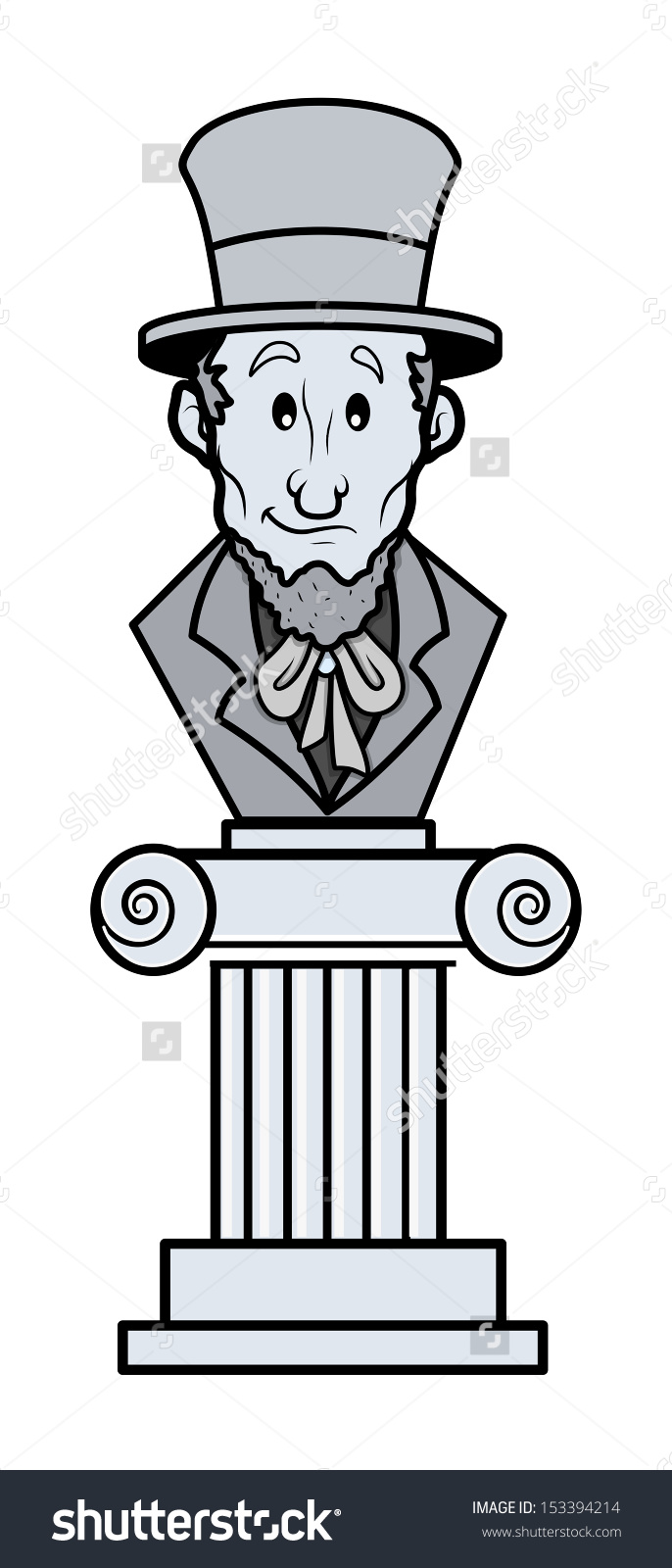 Abraham Lincoln Sculpture Cartoon Clipart Vector Stock Vector.