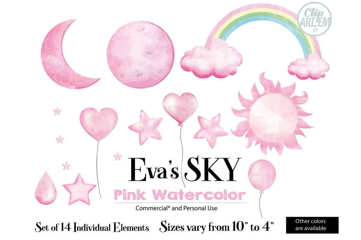 Pink Sky Clip art, watercolor could, moon, star, balloons.