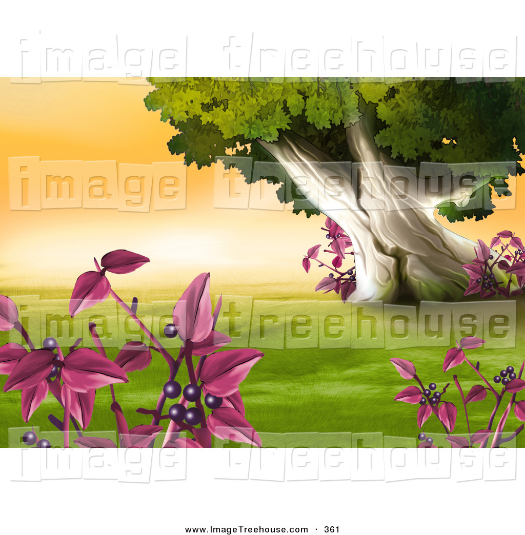 Clipart of a Group of Plants with Purple Berries Framing a Scene.