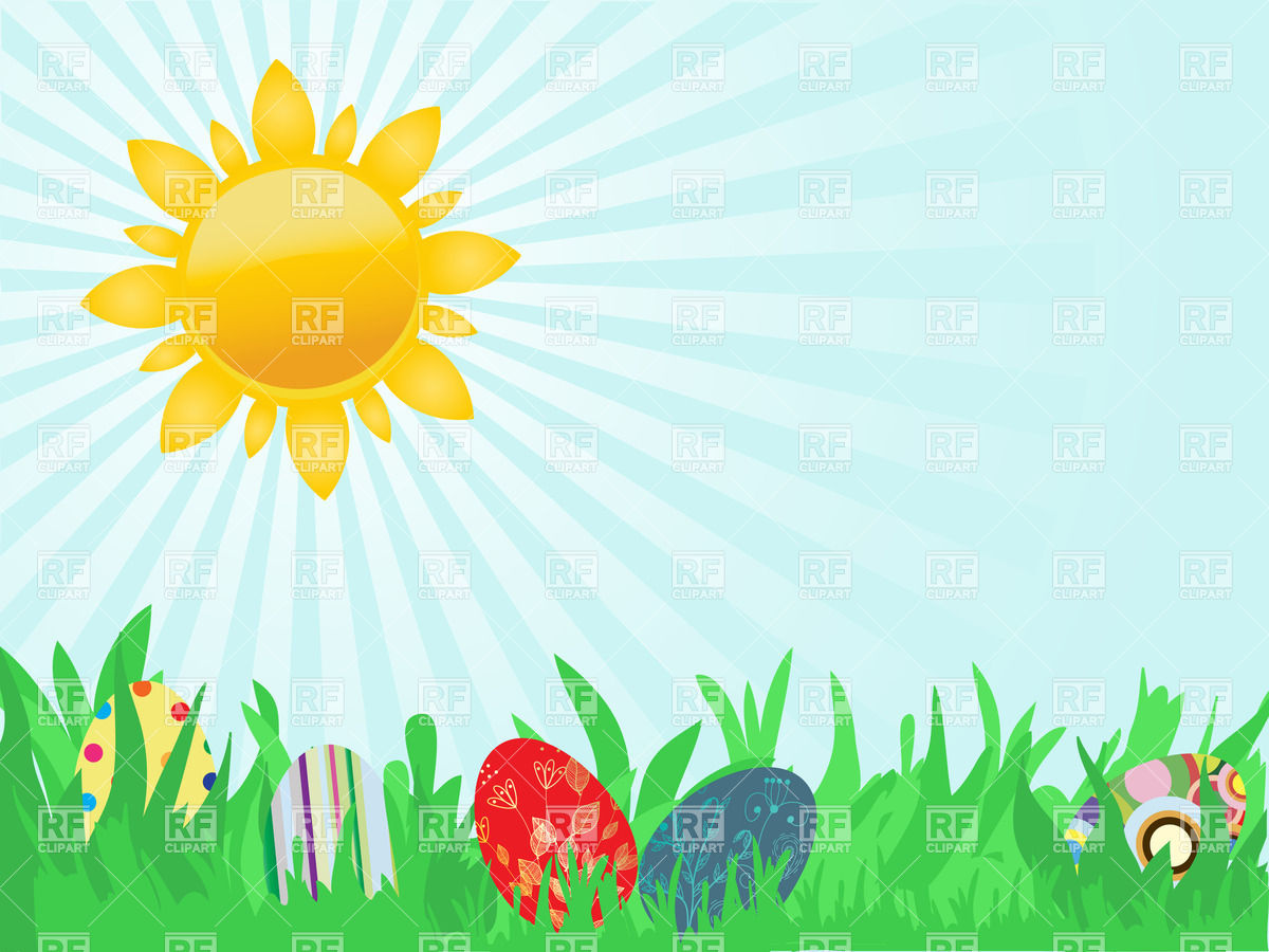 Sun in the sky. Easter card with two hand drawn eggs. Vector Image.