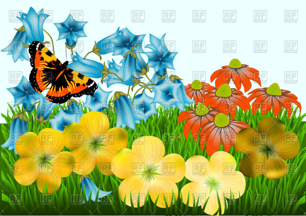 Flowers, green grass and butterfly against a blue sky Vector Image.