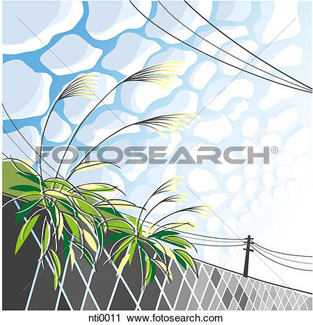Clipart of Illustration of the sky, power lines, and plants.