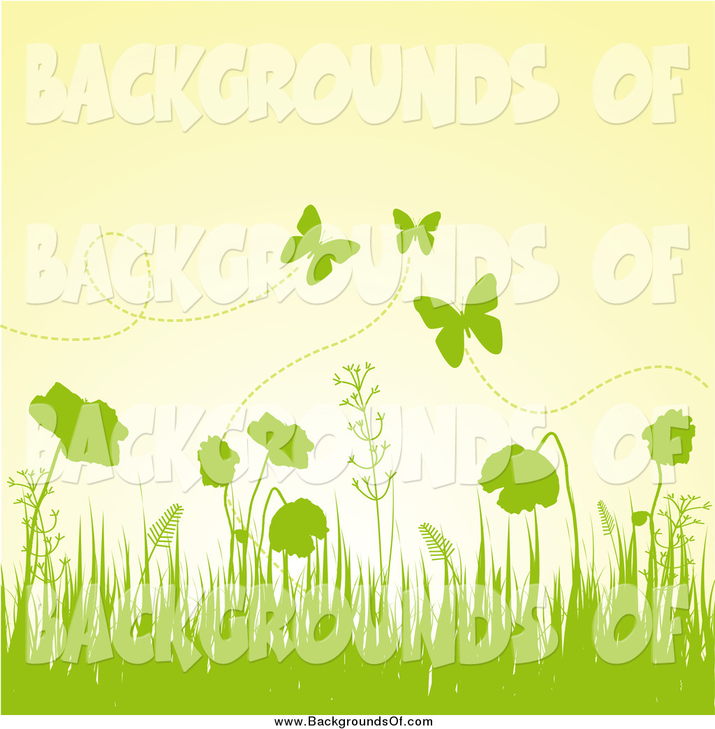 Vector Clipart of a Spring Background of Green Grass, Plants and.
