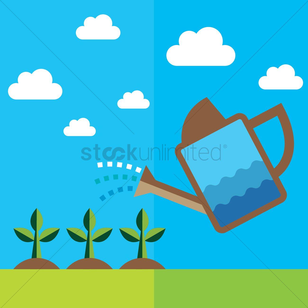 Watering plants under the sky Vector Image.