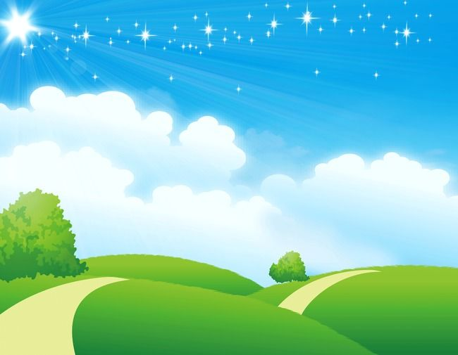 Blue Sky And Grass Background, Blue Sky, Meadow, Hillside.