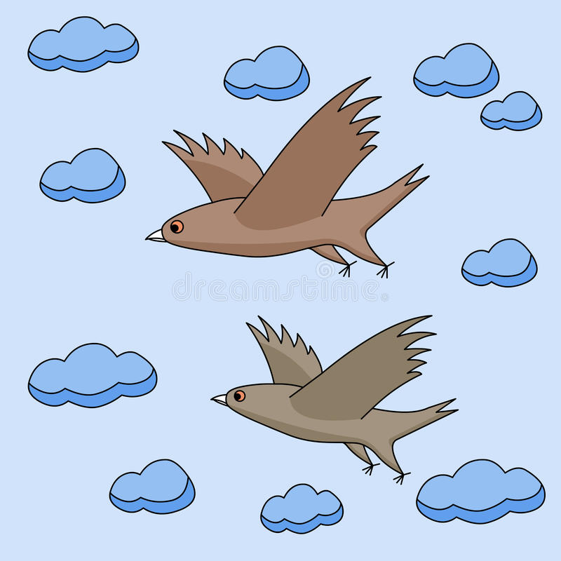 Flying Birds In The Sky Clipart.