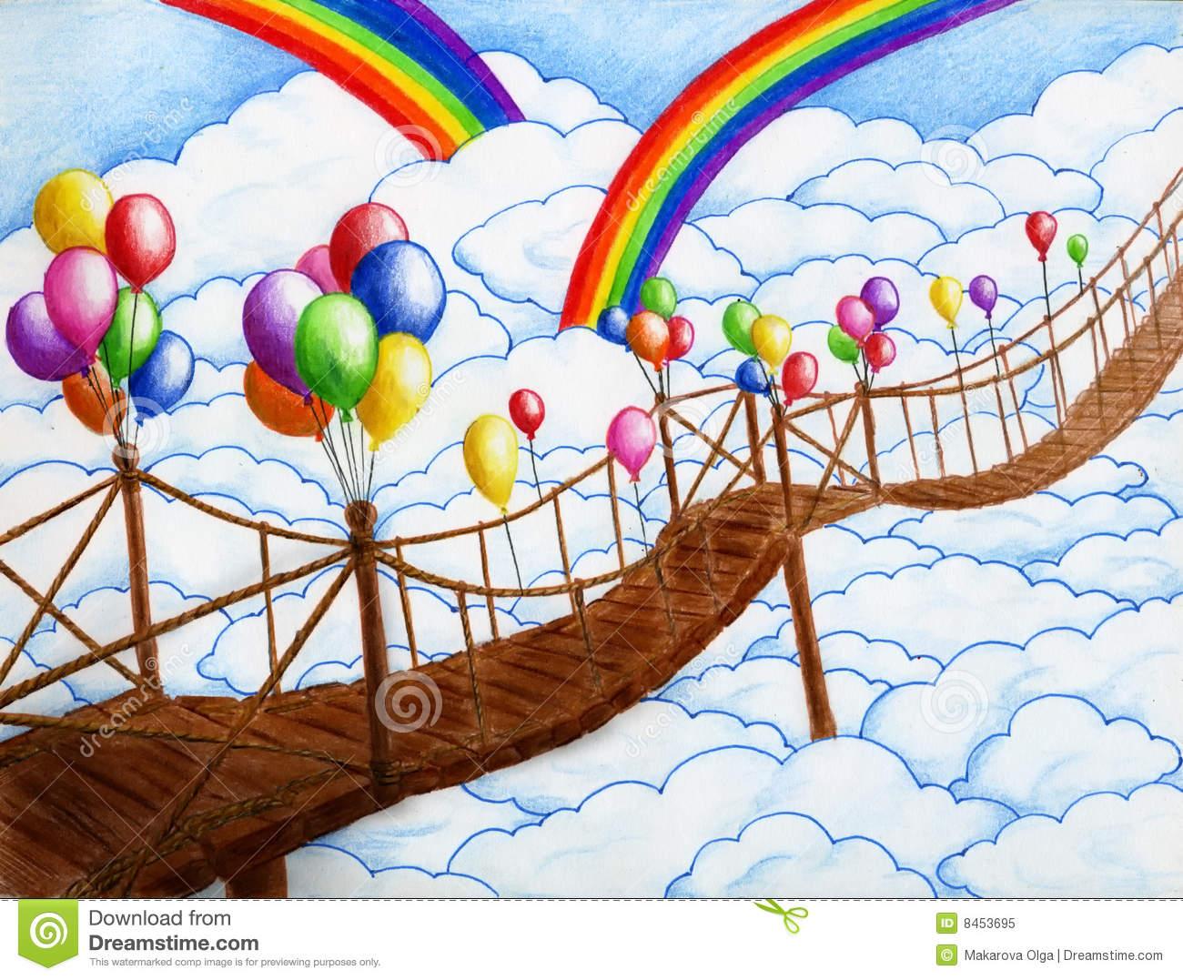 Suspension Bridge Stock Illustrations.