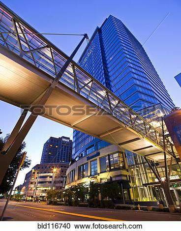 Stock Photography of Pedestrian Sky Bridge At Sunrise bld116740.