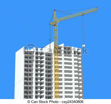 Vector Clipart of Crane against new building.