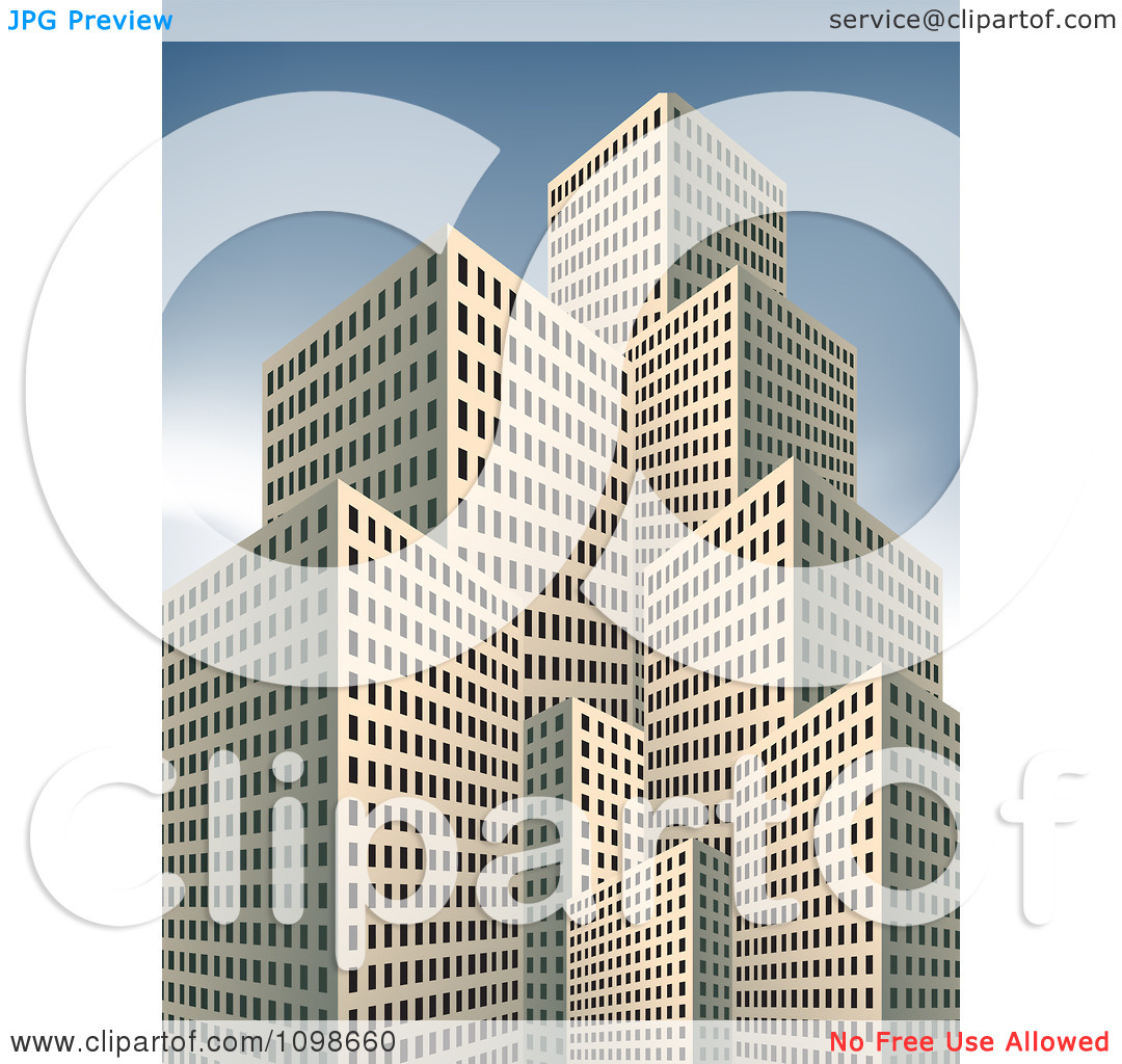 Clipart 3d Beige Highrise City Buildings Over A Blue Sky.