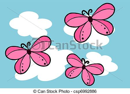 Clip Art Vector of Butterfly on the sky.