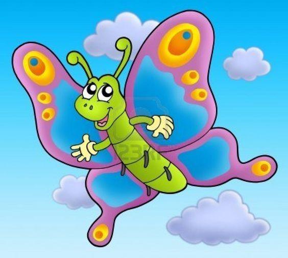 Cute cartoon butterfly on sky.