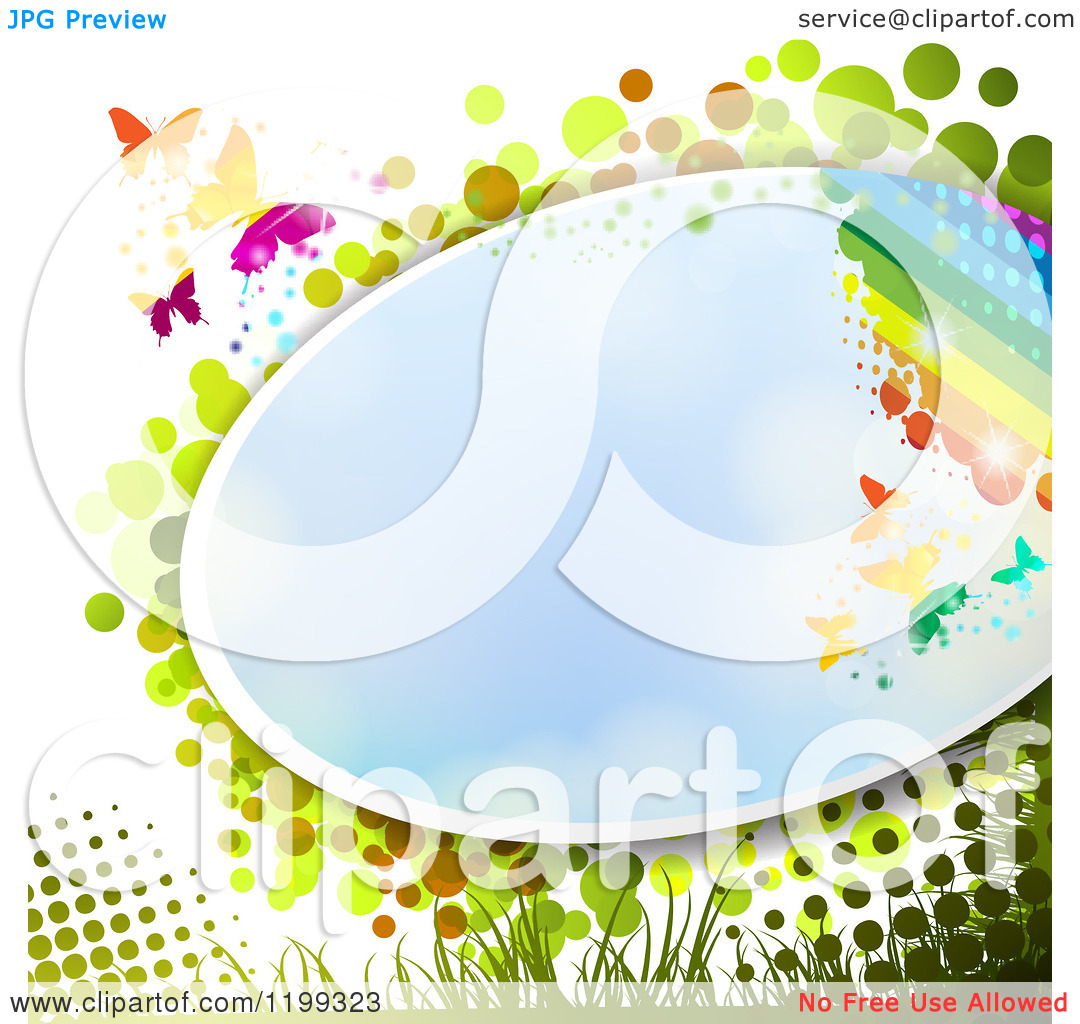 Clipart of a Butterfly Background with Halftone and a Rainbow and.