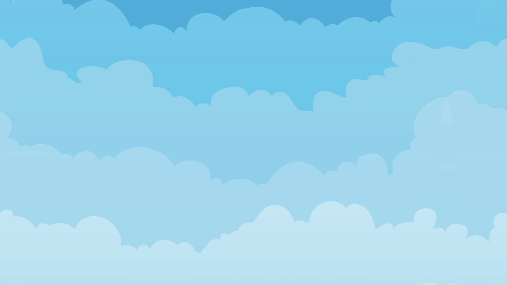 Sky Background With Clouds Seamless Looping/ Animation of a cartoon spring  or summer blue sky backdrop with clouds layers moving to the left Motion.