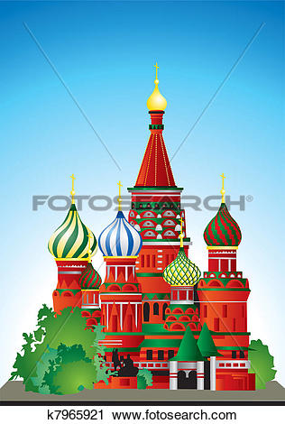 Clipart of Russia St. Basil's Cathedral k7965921.