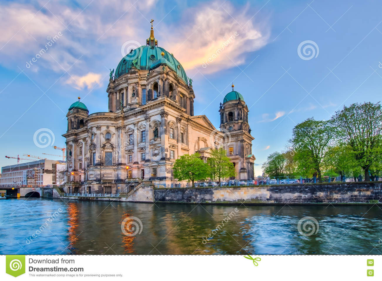 Berlin Cathedral With A Nice Sky In Berlin, Germany Stock Photo.