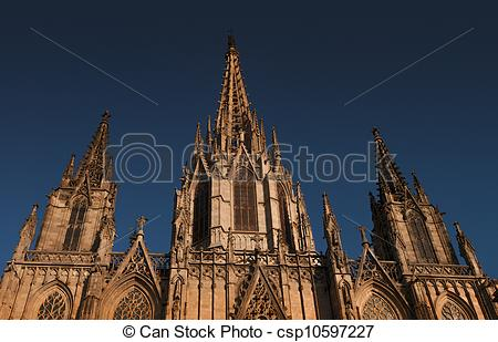 Clip Art of Cathedral of the Holy Cross in Barcelona, Spain.