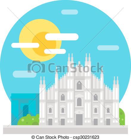 Vector Illustration of Milan cathedral flat design landmark.